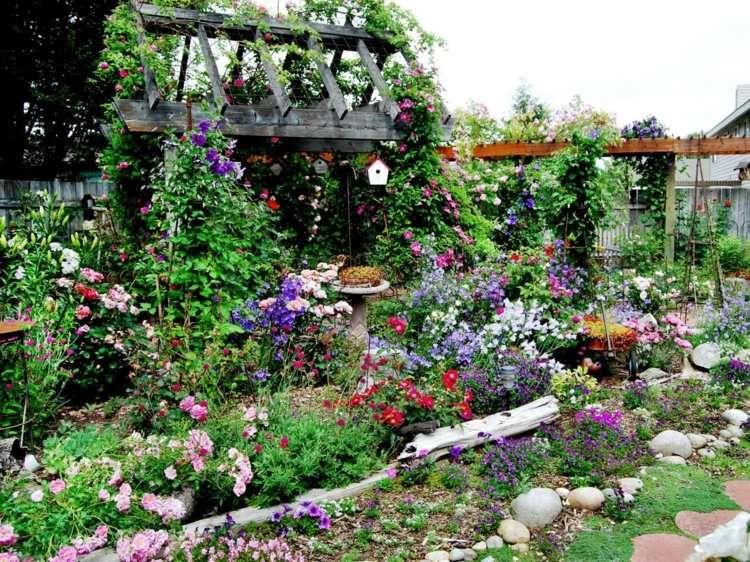 Garten Landhausstil beeteinfassung bauen garten landhausstil blumenbeete umranden jpeg