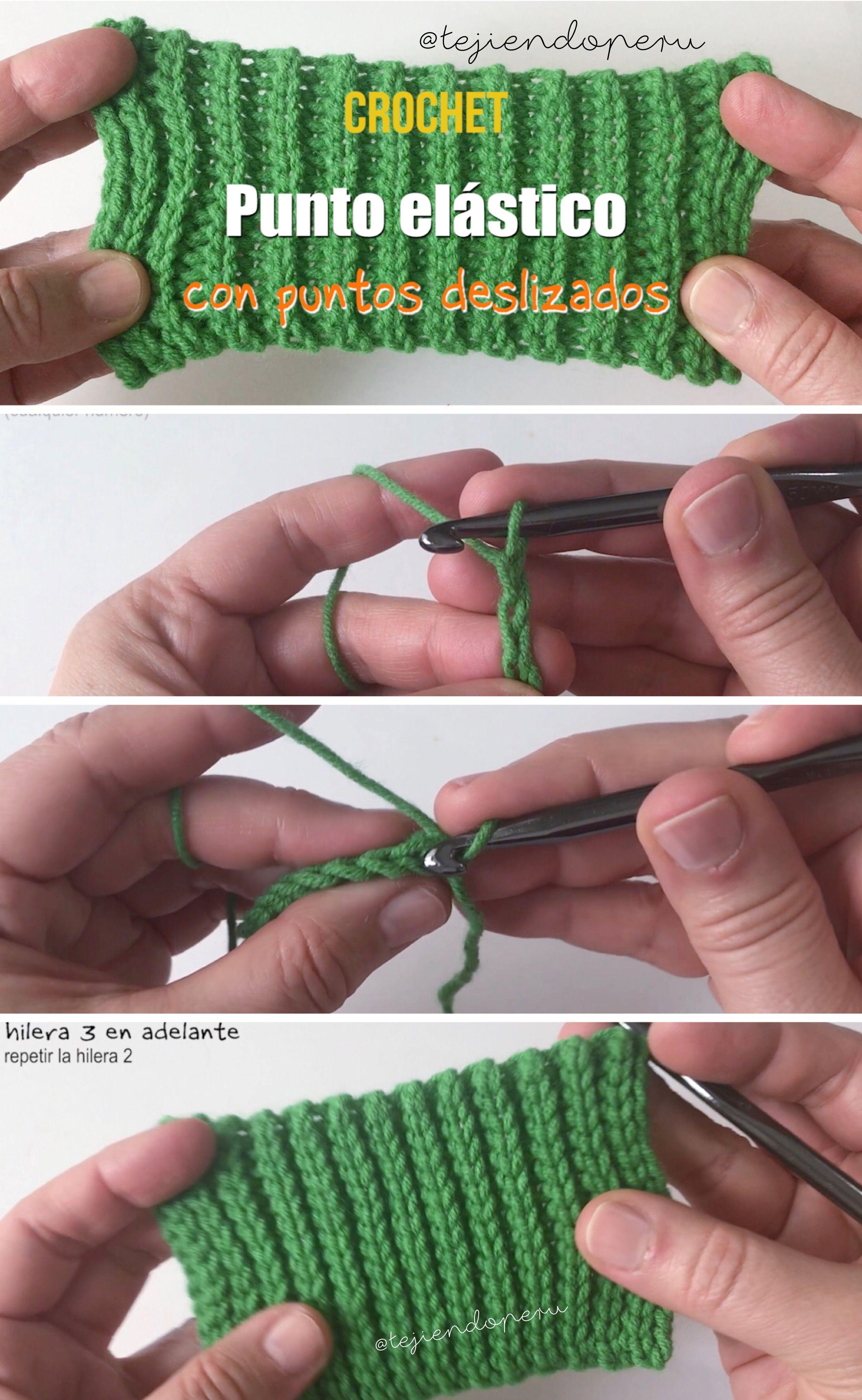 Punto elástico y reversible tejido a crochet imitación tricot o dos ...