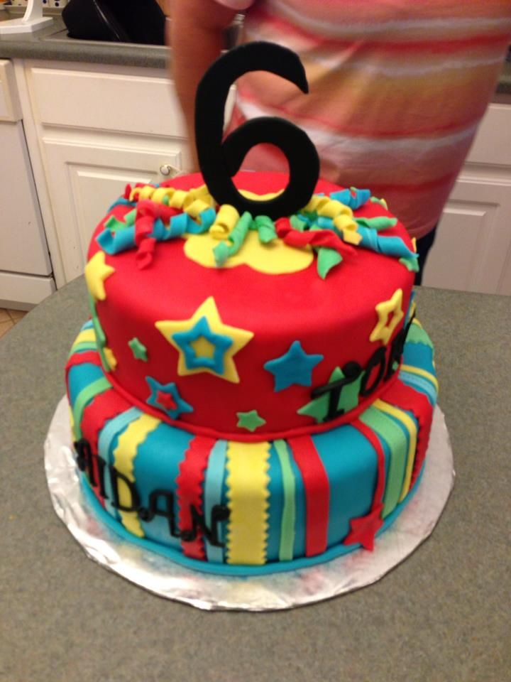 Colorful Gender Neutral Cake Made For A Shared Boy Girl 6th Birthday Facebook Beccascakesandbakes