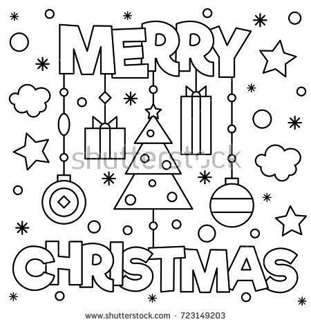 Merry Christmas Coloring Page Vector Illustration Dibujos De Navidad Para Imprimir Páginas Para Colorear De Navidad Hojas De Navidad Para Colorear