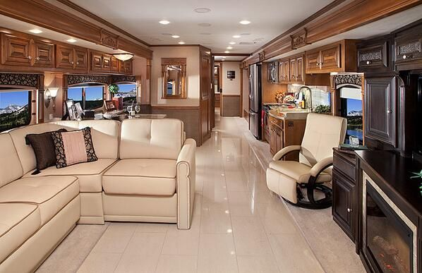 The Inside Of A Luxury RV Okay Ladies Were Going Camping Ill Be There To Pick You All Up This Will First Time Hear Me Say That Its Nice