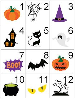 counting coconuts calendar cards halloween - Preschool Halloween Bingo