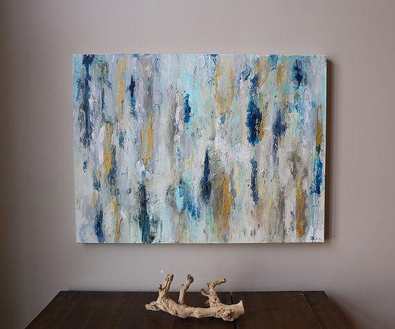 Blue Gold Abstract Art
