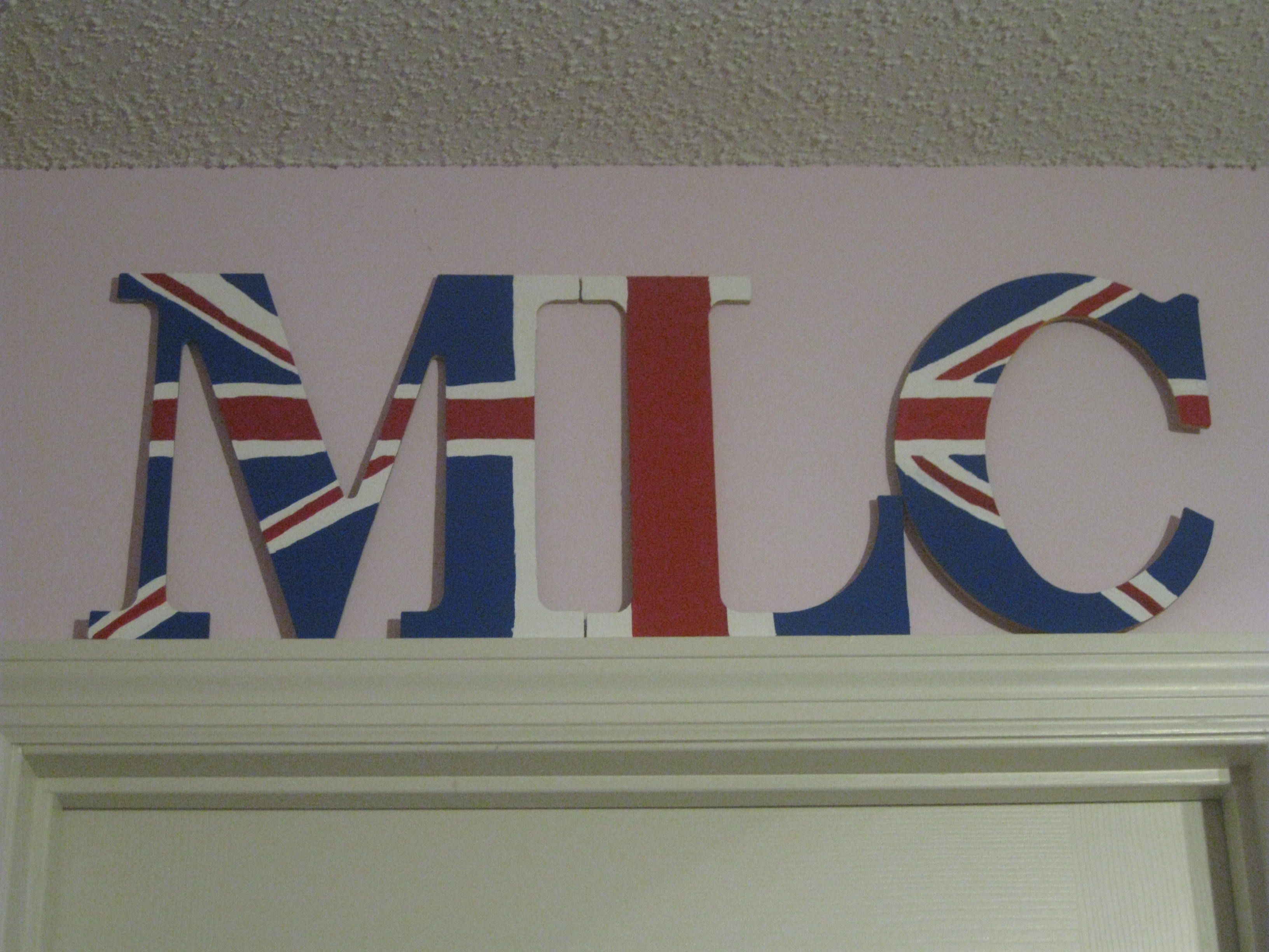 wooden letters and cheap acrylic paint from hobby lobby
