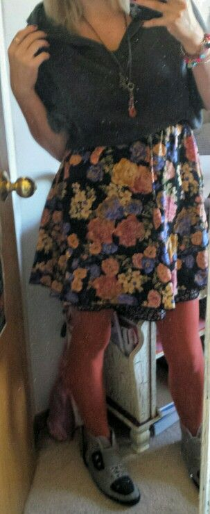 Floral dress.  Peach tights.  Crop hooded sweater