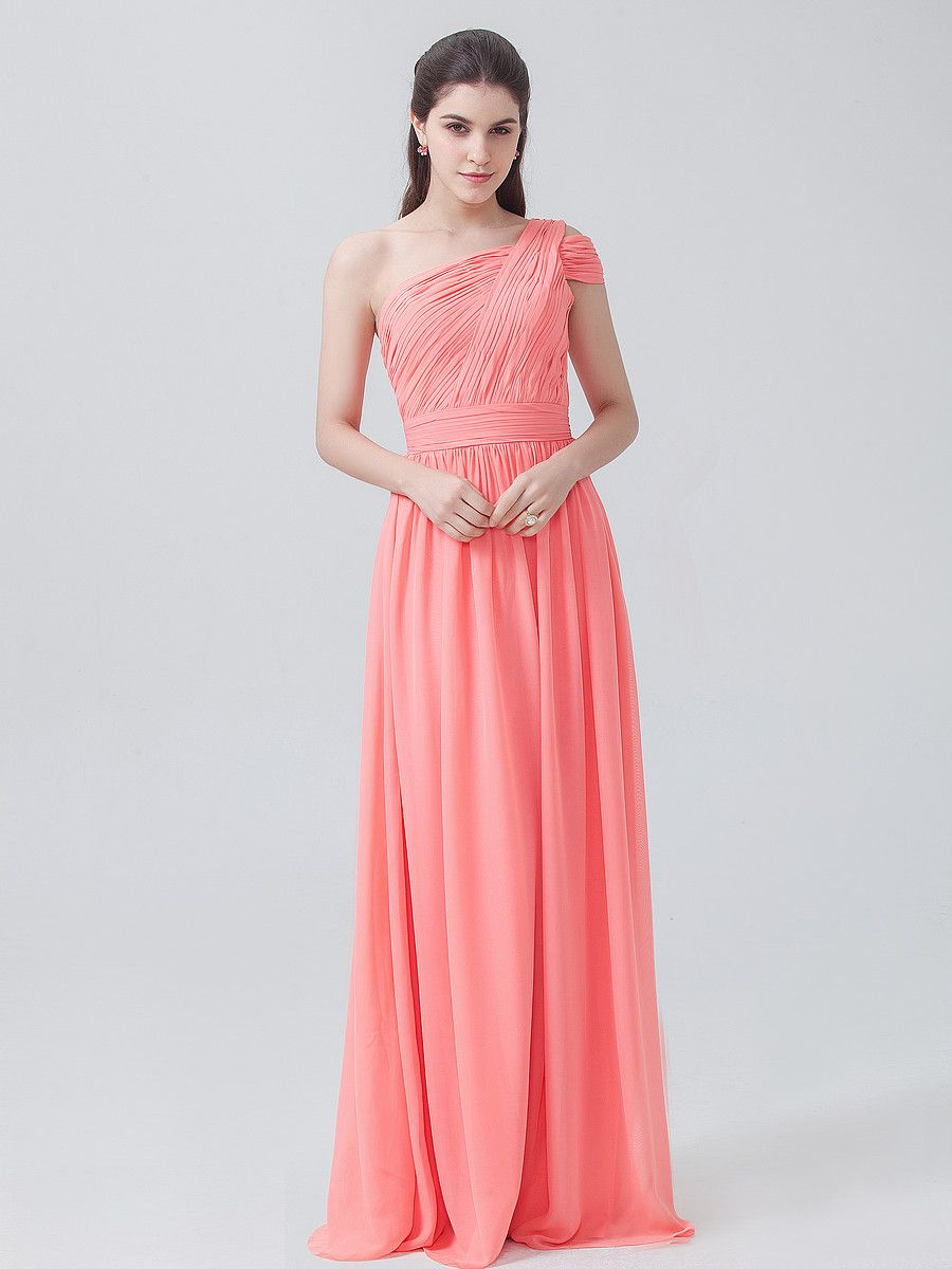 One Shoulder Chiffon Dress; Color: Peach Pink; Fabric: Chiffon ...