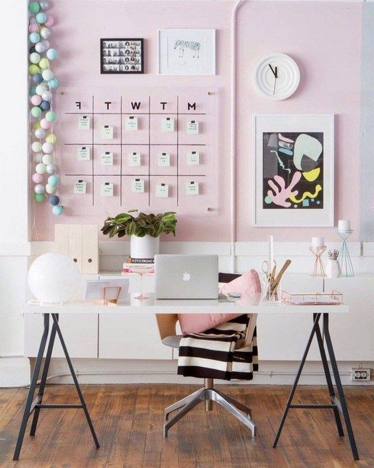 48 Elegant Office Decor Ideas For Small Apartment Pink Office