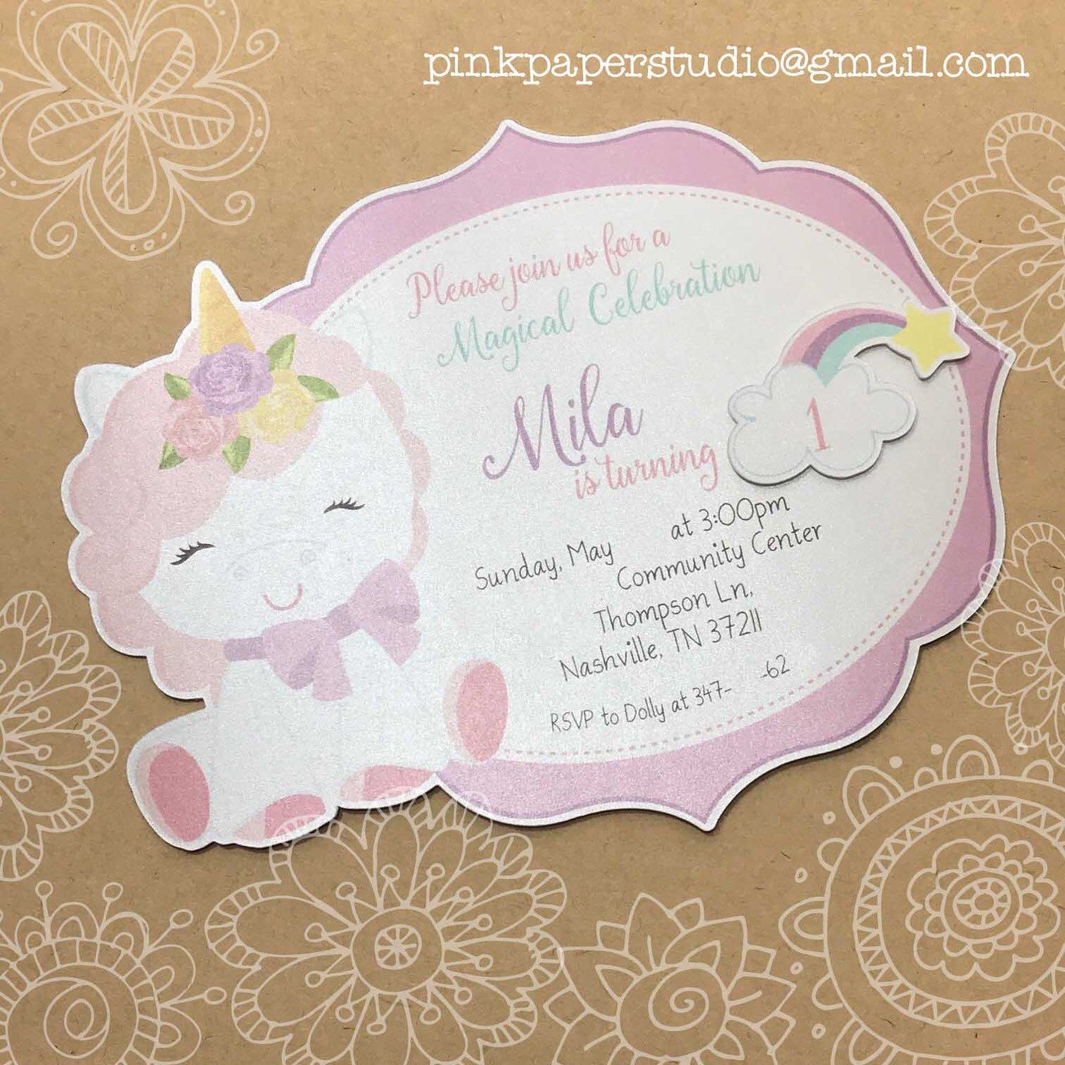 Unicorn Invitation Rainbow Unicorn Birthday Invite Magical