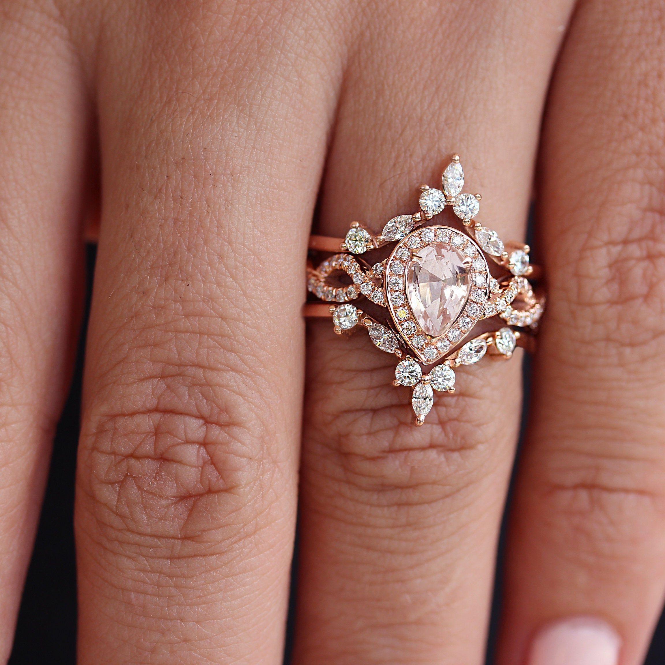 Pear Morganite Diamond Halo Twist Shank With Ring Guards Enhancers Unique Engagement Ring Set Hermes Victorian Engagement Rings Wedding Rings Teardrop Wedding Rings Vintage