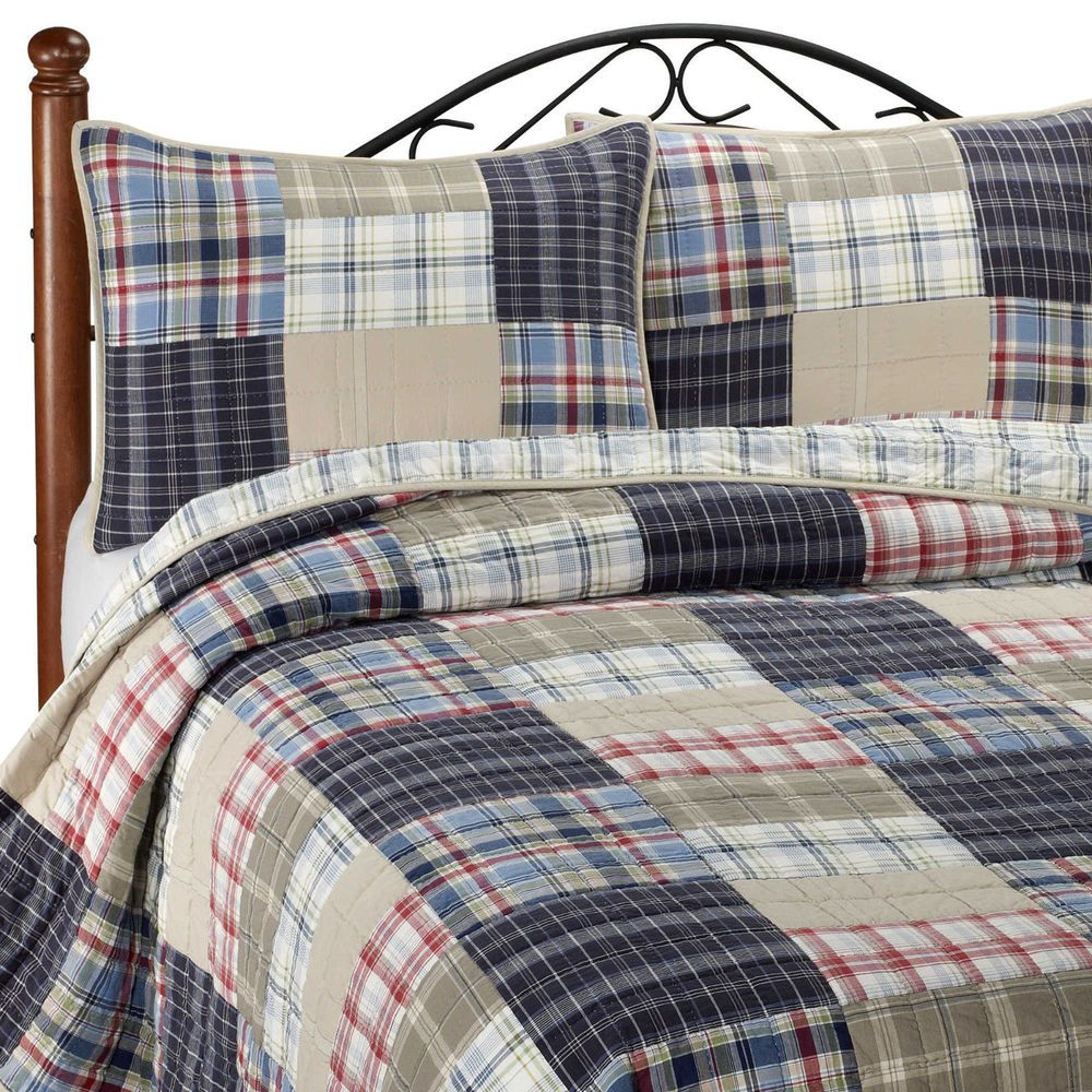nautica chatham navy blue tan red plaid king patchwork quilt 100  cotton 90x100  nautica