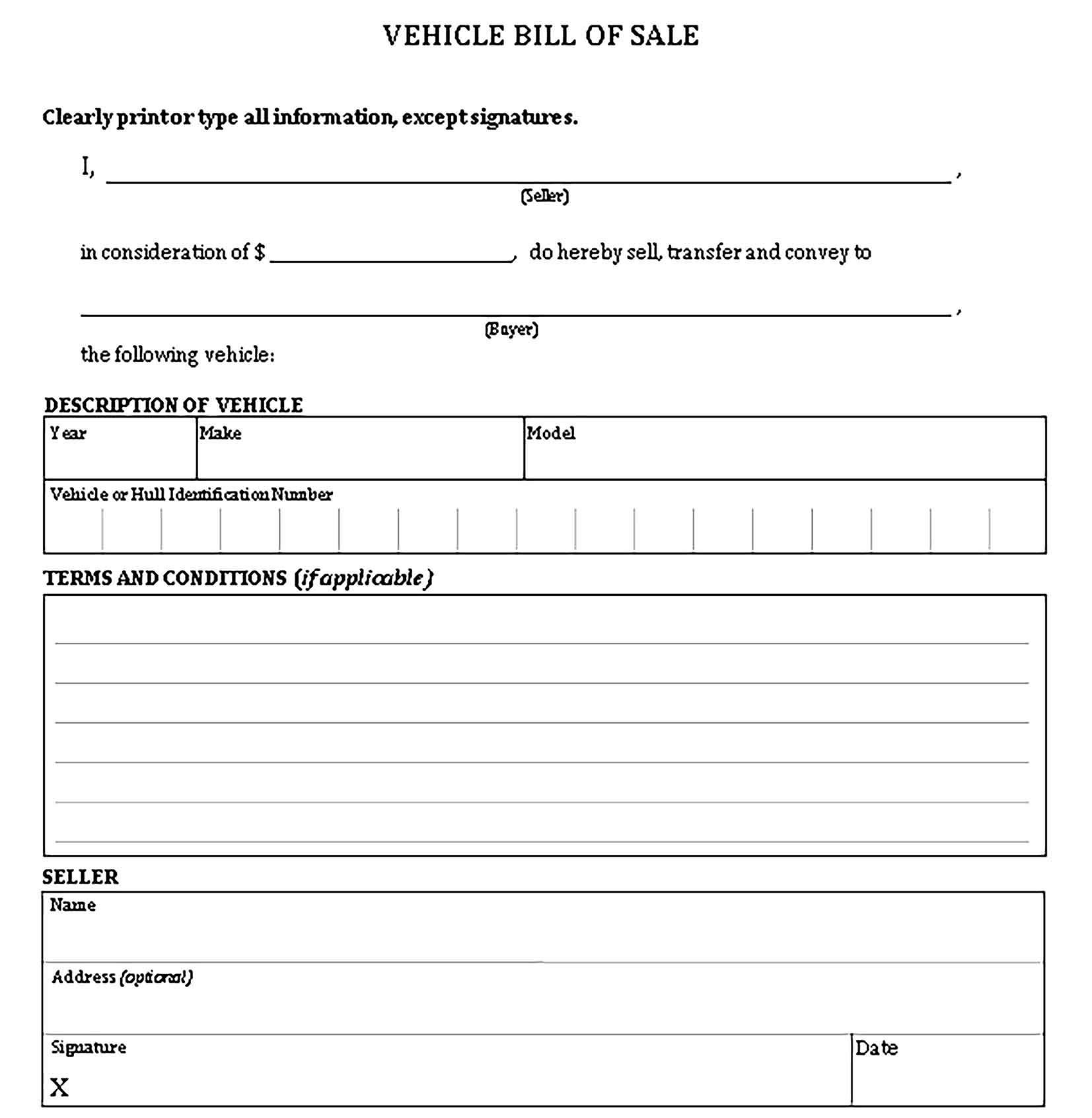 Printable Vehicle Bill Of Sale Template Bill Of Sale Template Templates Business Template Bill of sale form ma