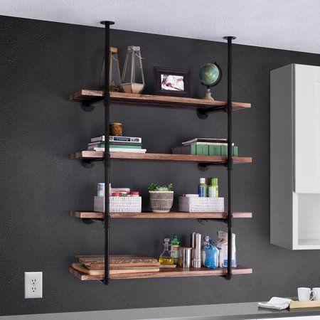 Best Choice Products 4-Tier Industrial Wall-Mounted Iron Pipe Bracket Bookshelf Frame, Customizable DIY Shelving - Walmart.com