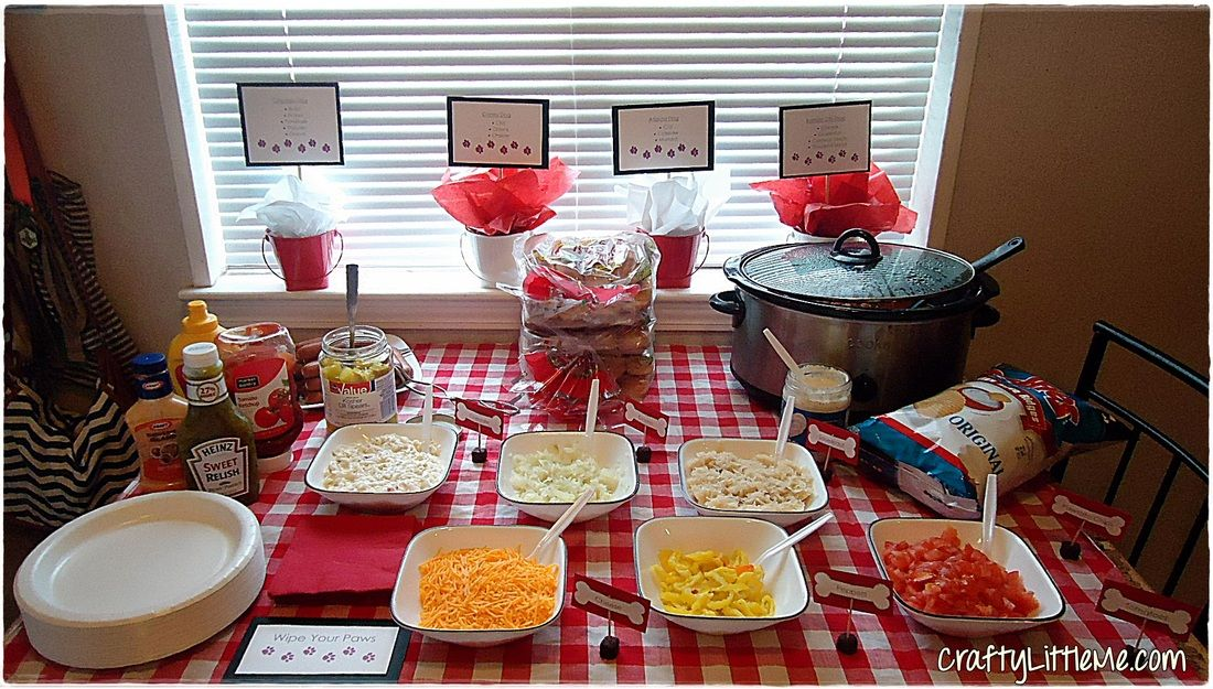 Dog Birthday Party Hot Dog Bar