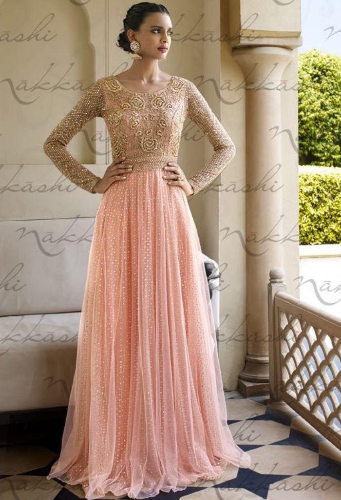 Peach Net Designer Palazzo Salwar Kameez..@ fashionsbyindia.com ...