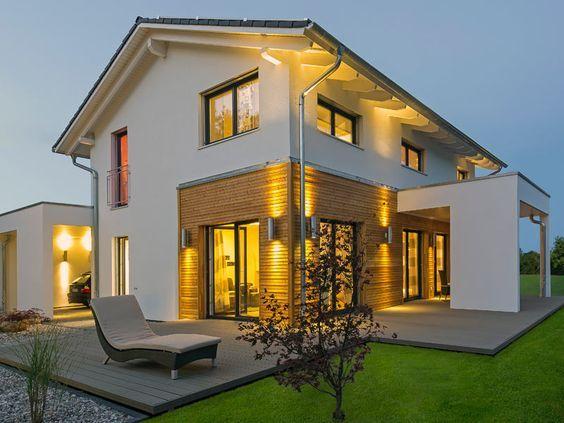 die angebrachten au enlichter verbeiten eine warme atmosph re haus pinterest hausbau. Black Bedroom Furniture Sets. Home Design Ideas