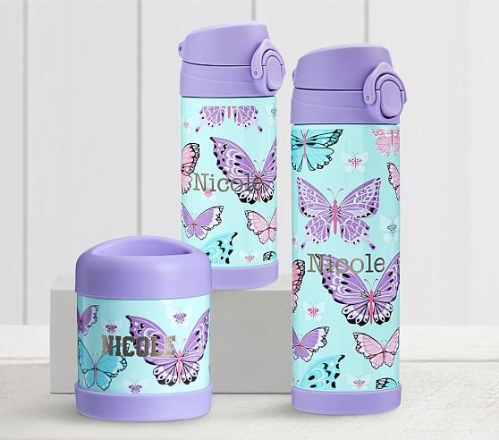 Mackenzie Aqua Lavender Pretty Butterflies Water Bottles