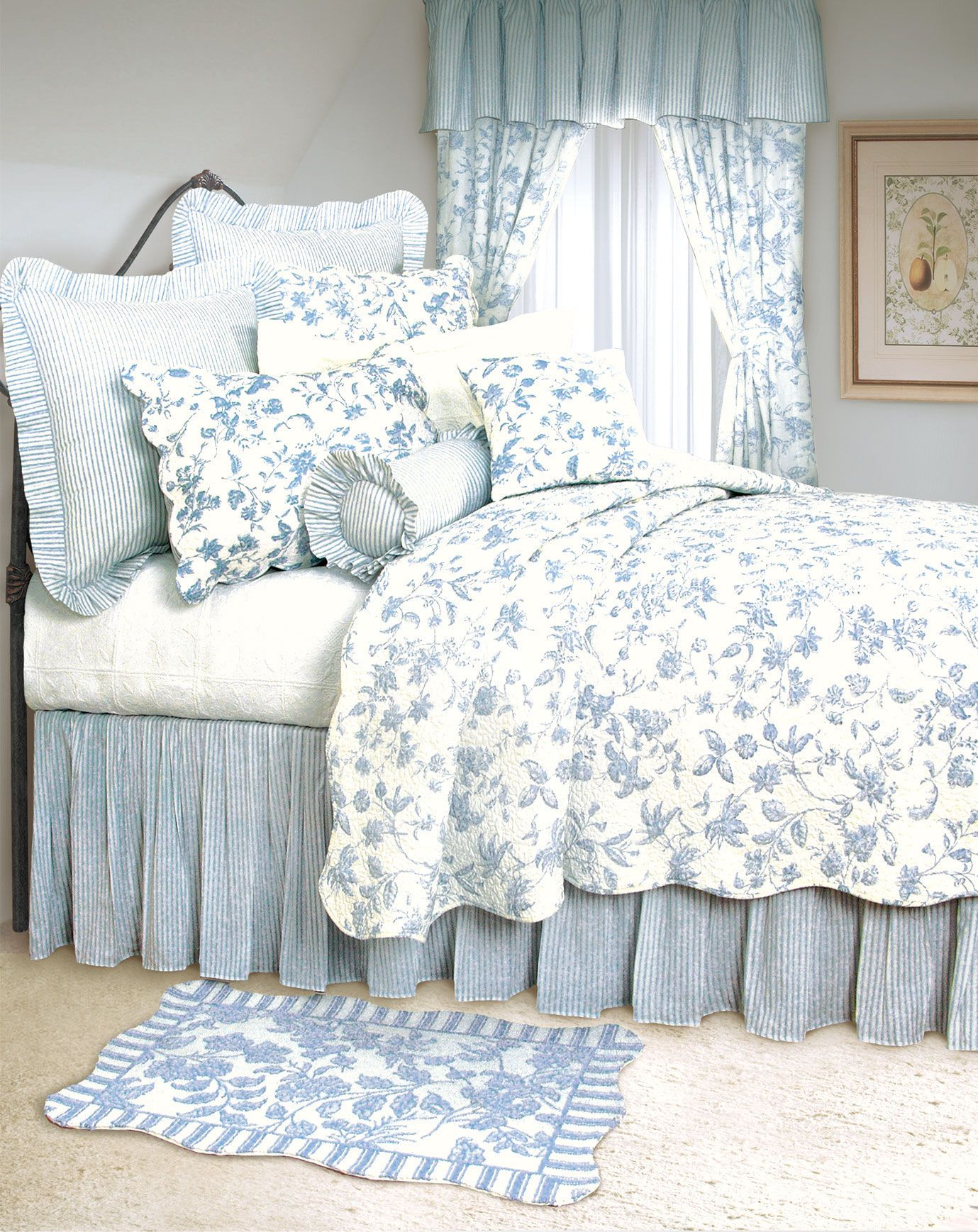 Brighton Blue Toile Bedding By C And F Aj Moss Blue Rooms Blue White Decor Country Bedding Sets