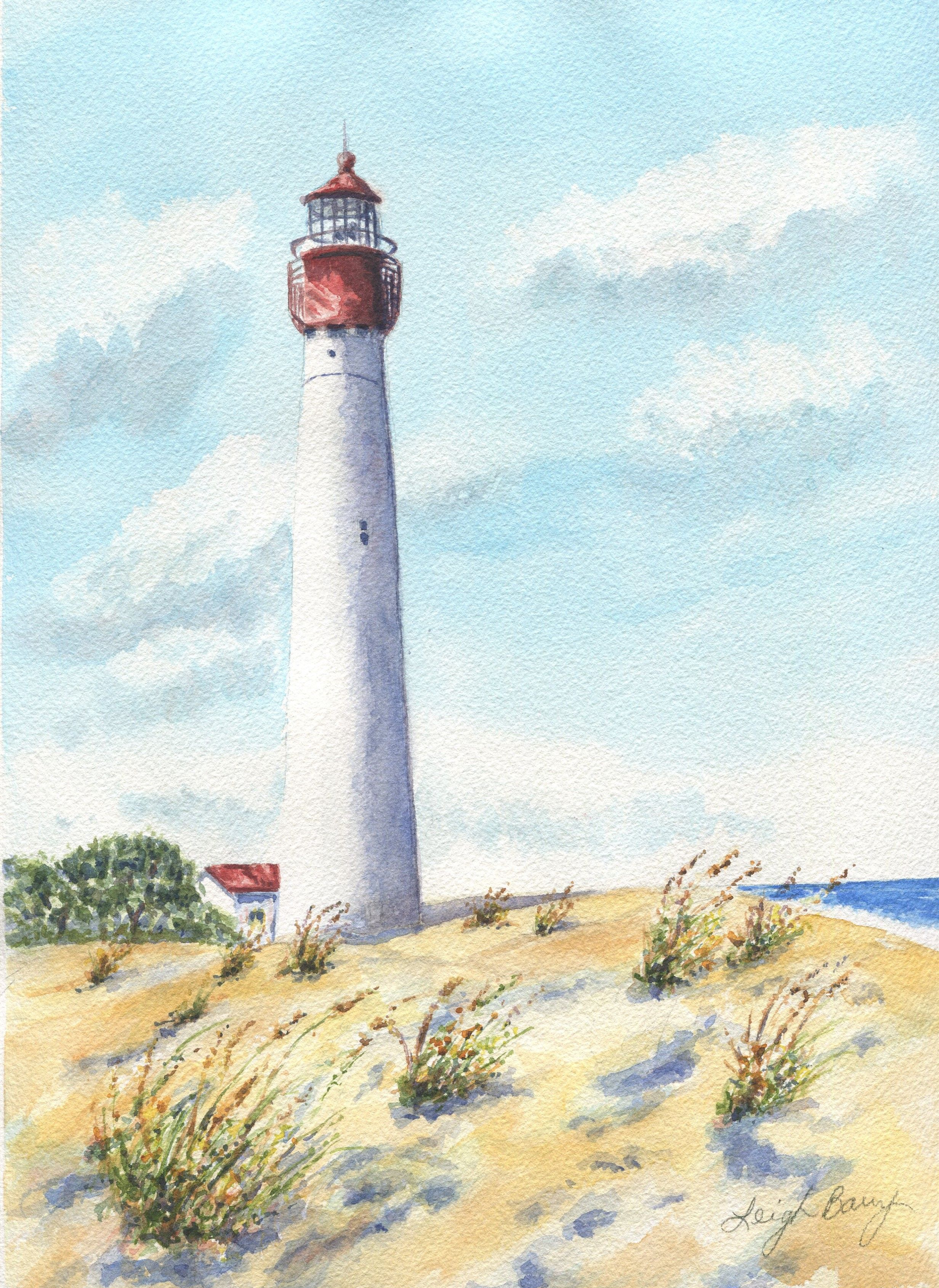 Cape May Lighthouse Original Watercolor Painting Seascape
