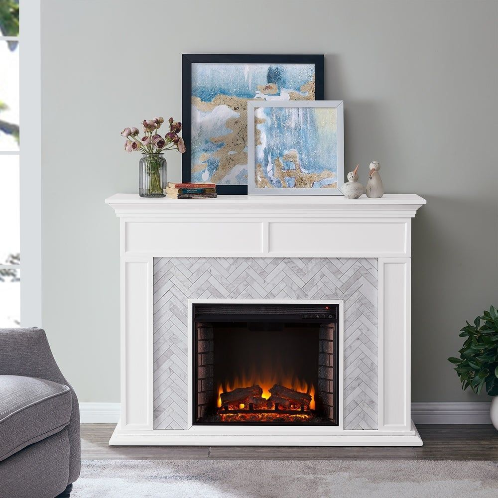 Torton Contemporary White Wood Electric Fireplace In 2020