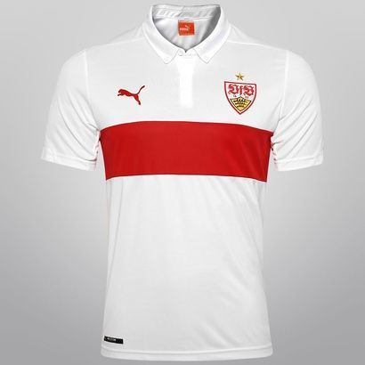 Camisa Puma Stuttgart Home 14 15 s n° - s  Patrocínio - Branco+ ... 4e0f55f45b83d