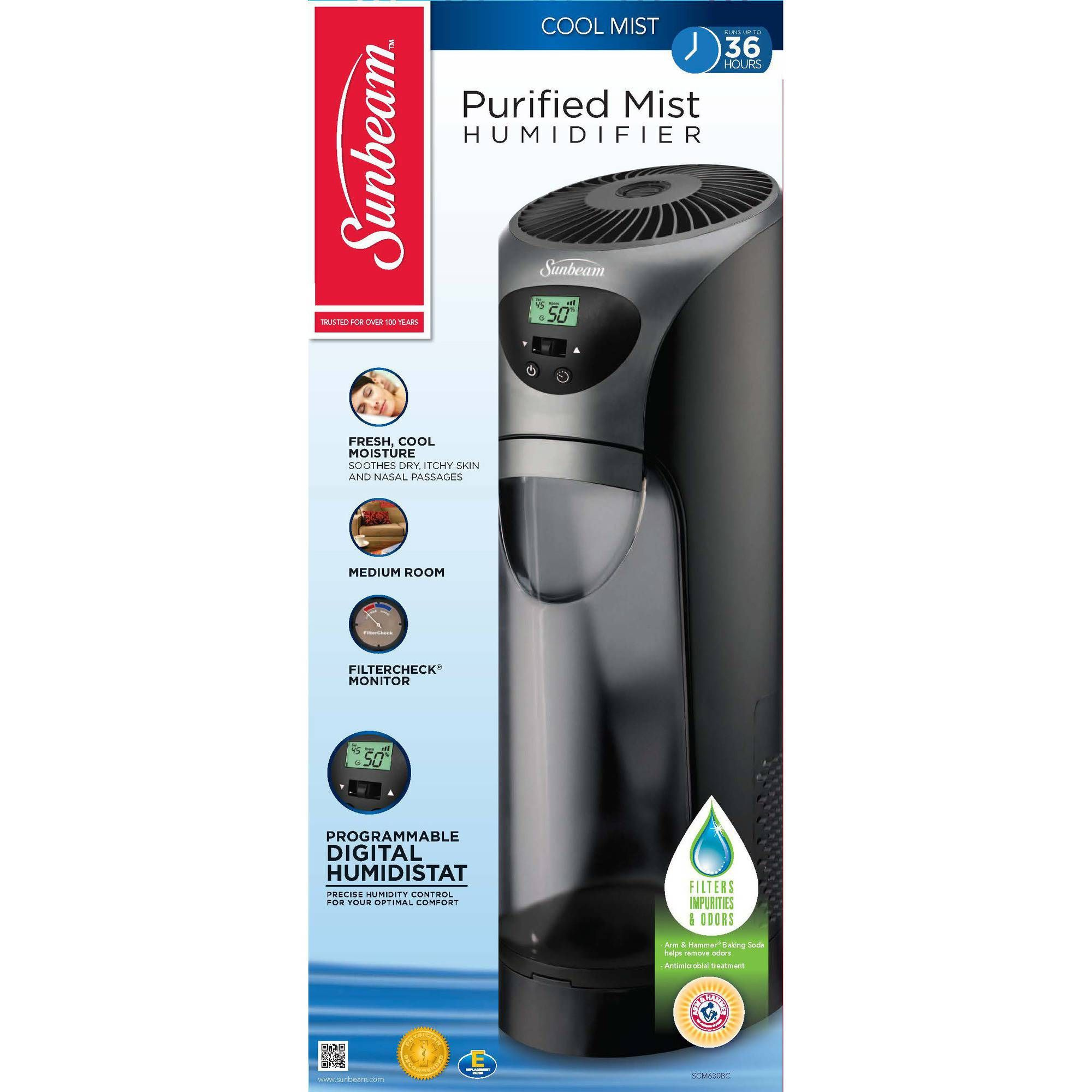 medium resolution of buy sunbeam cool mist tower humidifier scm630bc um at walmart com