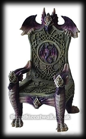 Purple Gothic Dragon Throne Ornament | Gothic Furnishings ...