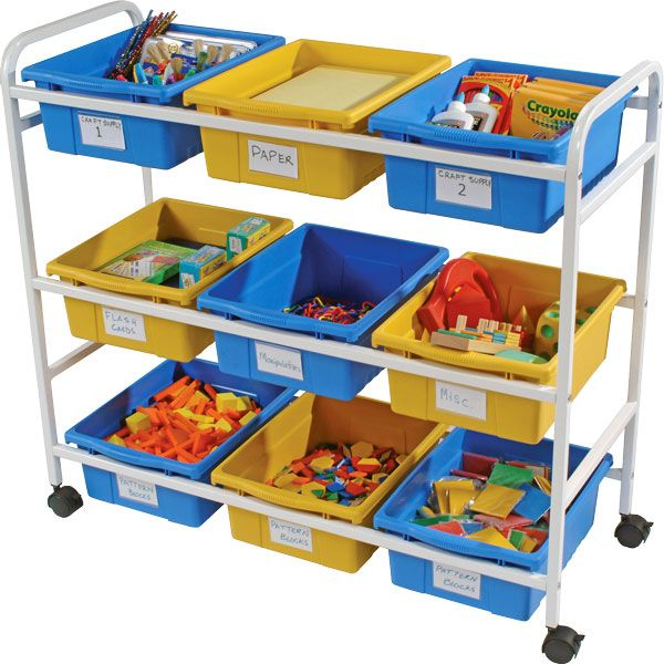 """Get organized with Copernicus' Multi-Purpose Storage Carts. These durable steel carts feature three levels of storage. Nine plastic tubs help you sort books, art supplies, math materials, science experiments and more. Four 2"""" casters make it easy to transport supplies around the classroom. All"""