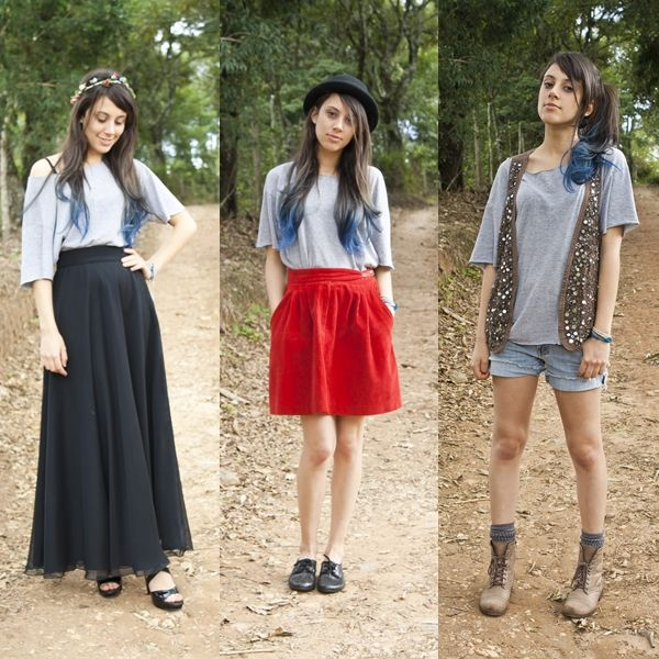 Senhorita Inconstante: Uma Camiseta Cinza = Três Looks Diferentes