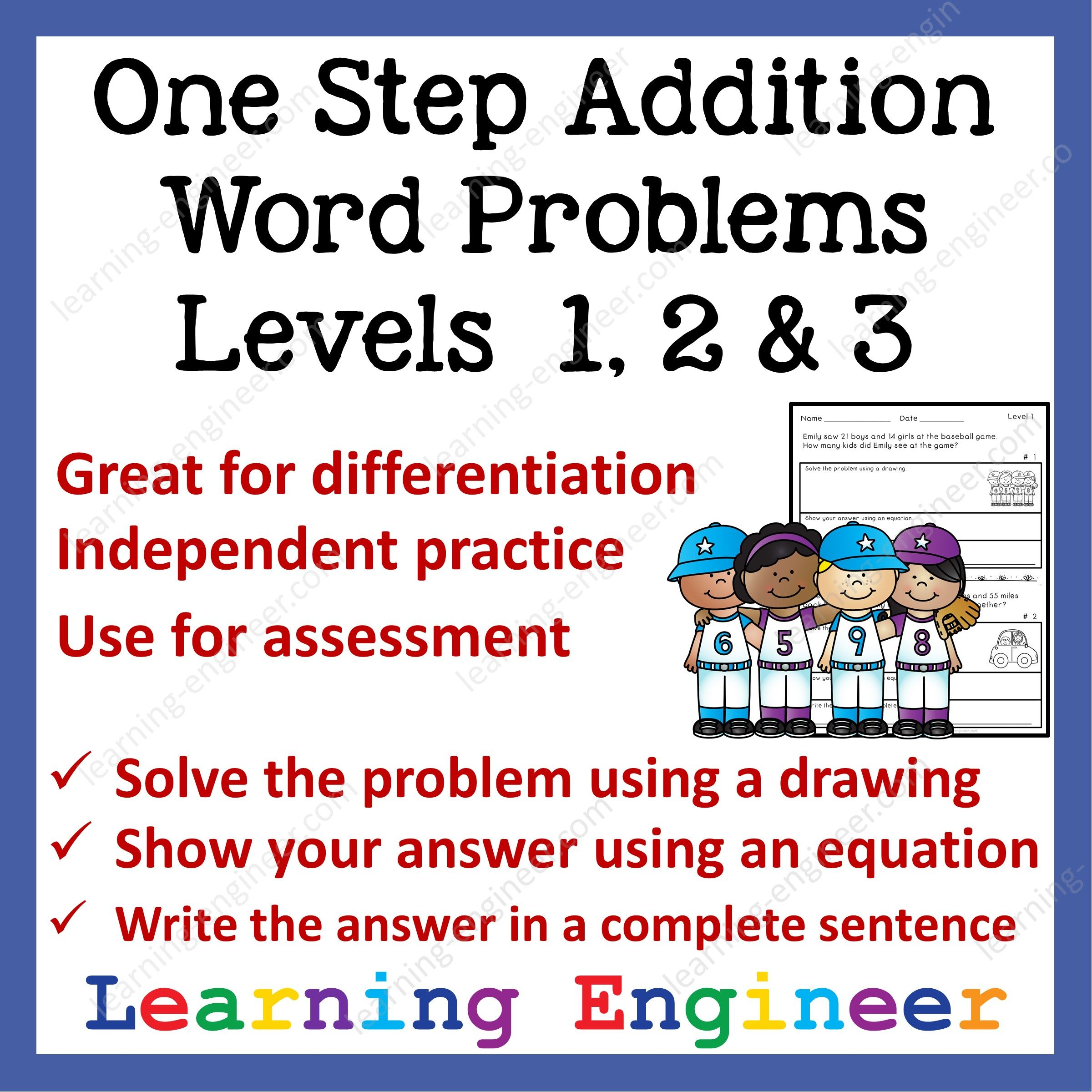 One Step Addition Word Problems Levels 1 2 Amp 3 From
