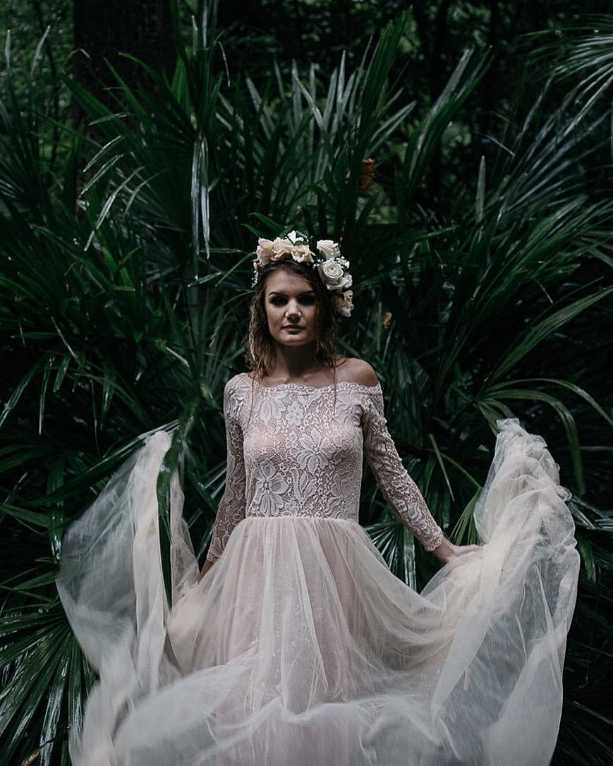 Blush offtheshoulder lace and tulle maxi dress blushfashion