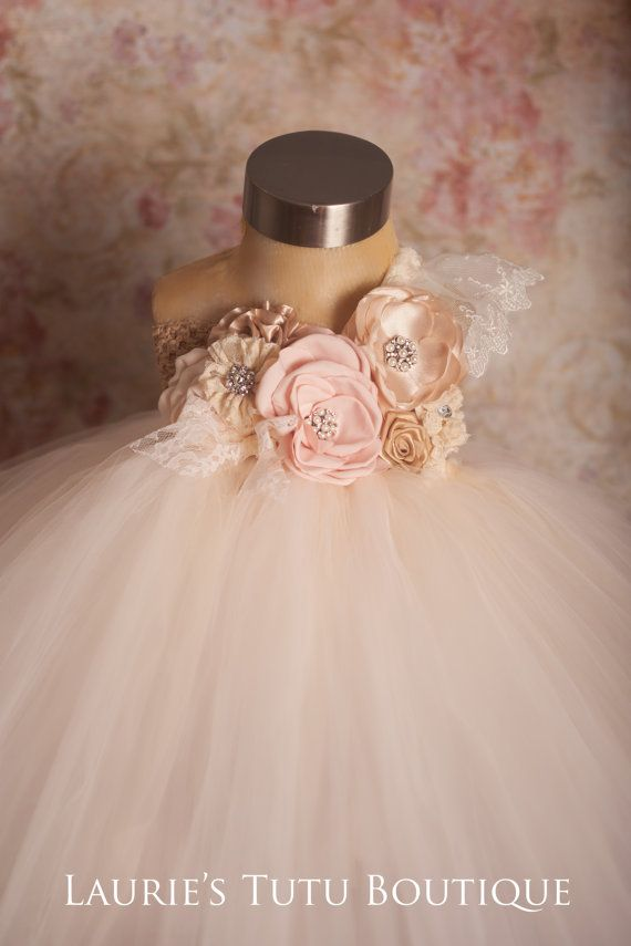 One Sweet Story Blush and Champagne Tutu by lauriestutuboutique