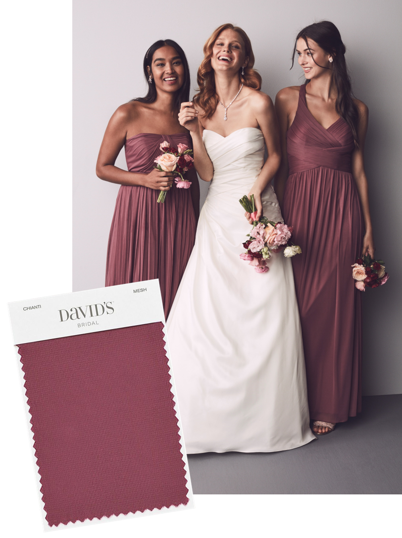 41a33166c7a Planning a burgundy wedding  Chianti is a a pretty burgundy bridesmaid  shade from David s Bridal