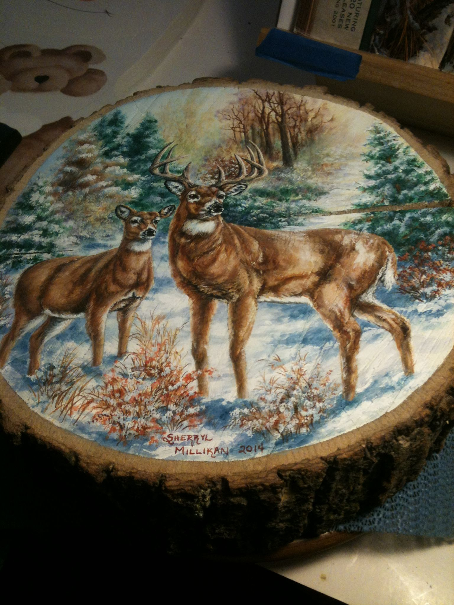 Art Painted On Wood Buck And Doe Deer Winter Scene Painting On A Walnut Wood