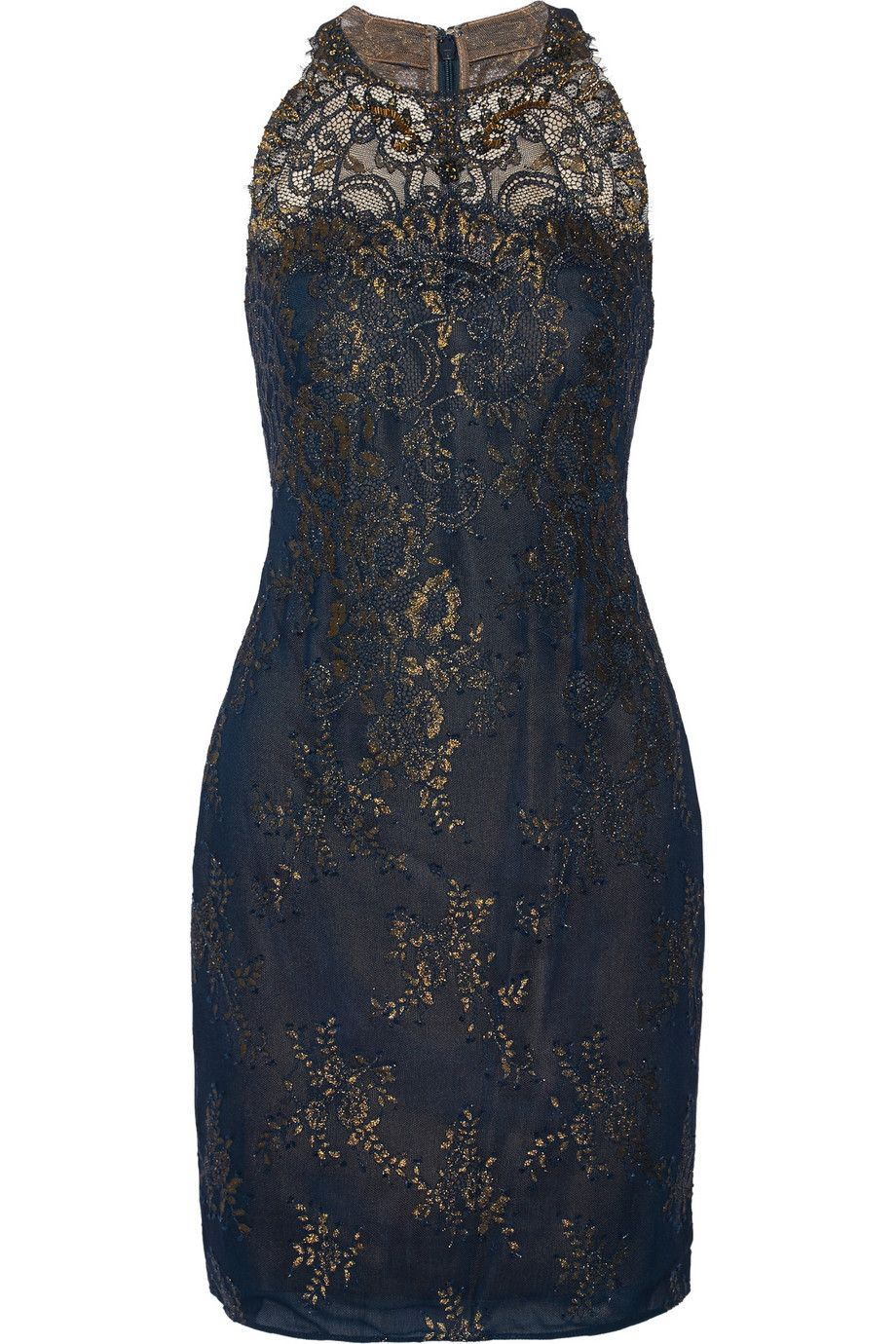 Marchesa NotteMetallic lace mini dress