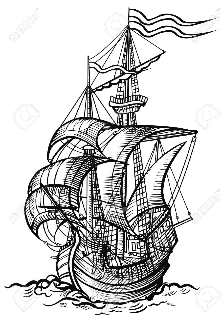 7482348-an-old-sailing-boat-in-wood-cut-drawing-style