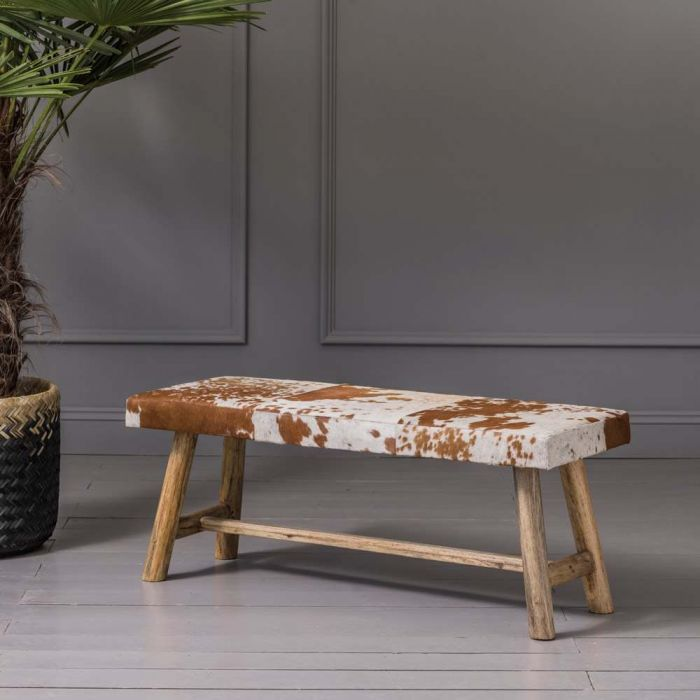 Tan And White Cowhide Bench Graham Green Cowhide Decor Cowhide Bench Cowhide Furniture