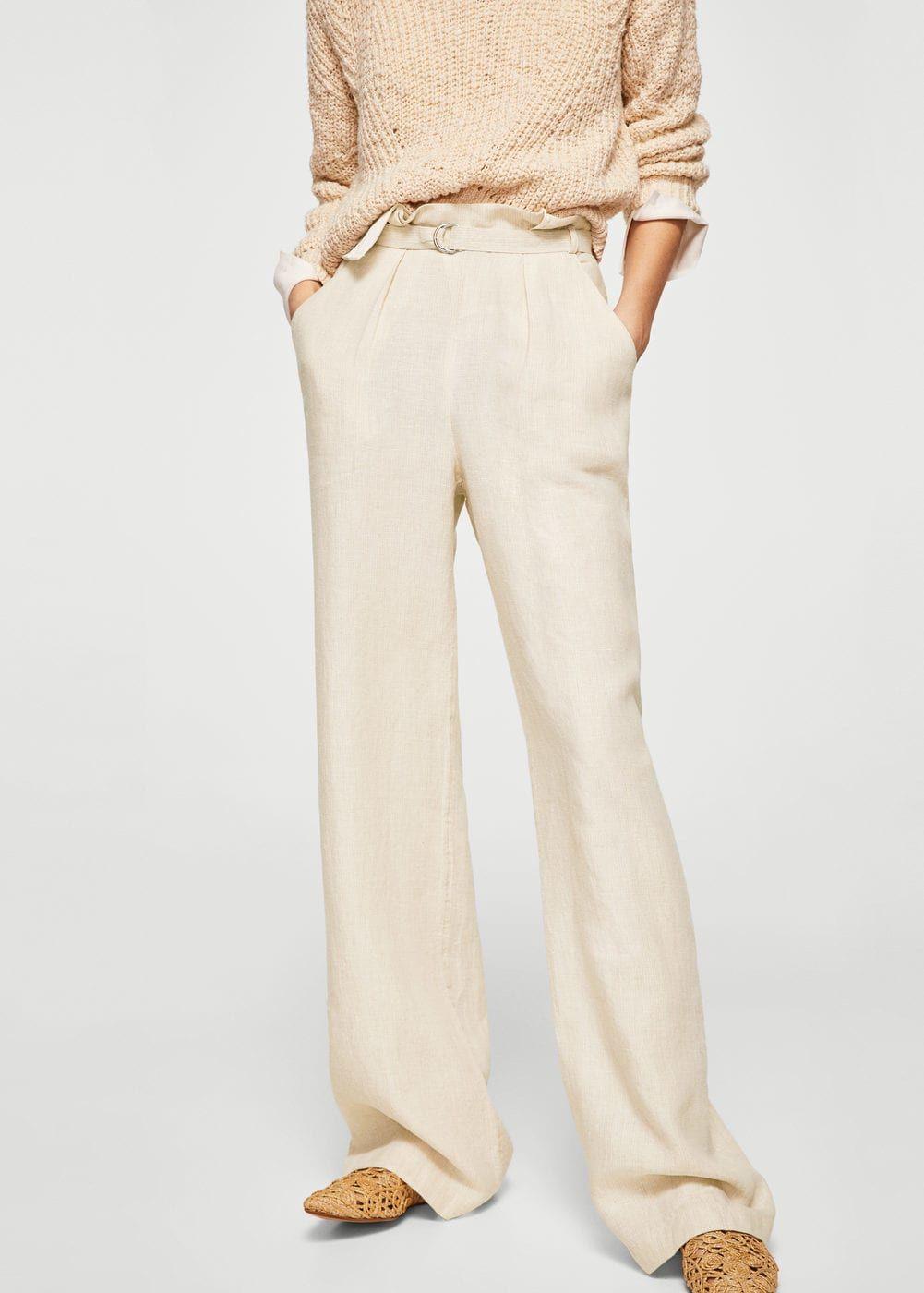 ec3cab7f1522cf Linen fabric High-rise Buckle closure Twin side pockets Twin back welt  pockets