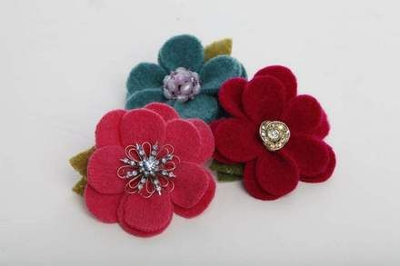 Repurposed wool pins with vintage brooches, $13 each, by Purple Pincushion at Market Day's Black Friday sale.