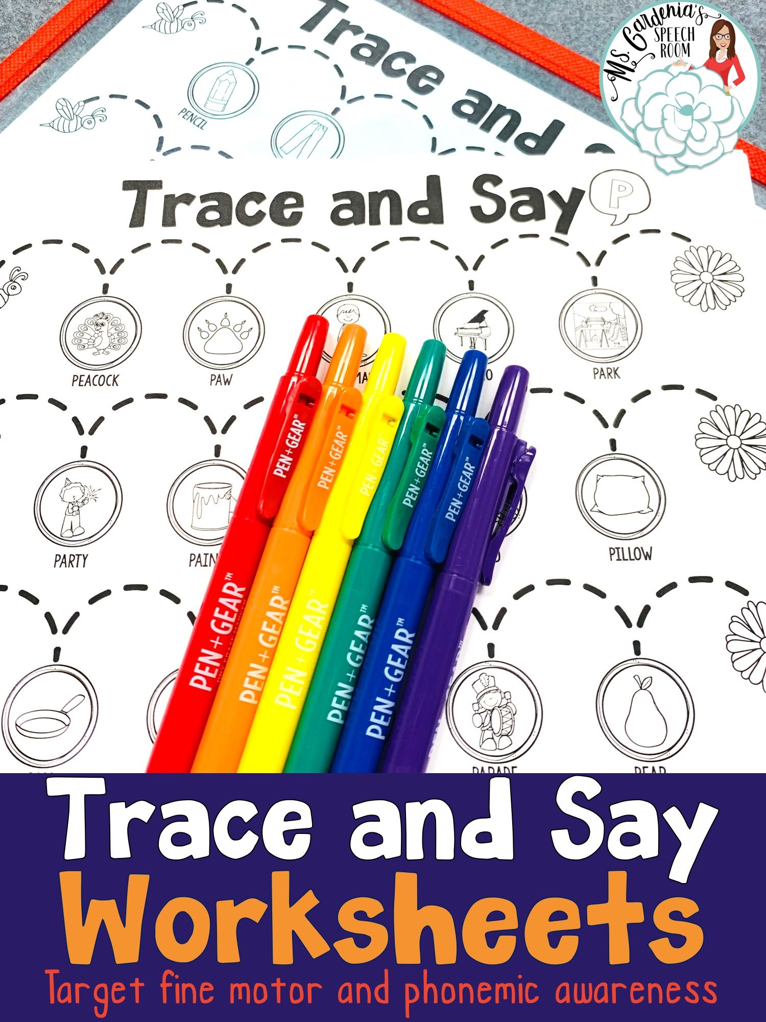 Trace And Say Worksheets Spring Themed Speech And
