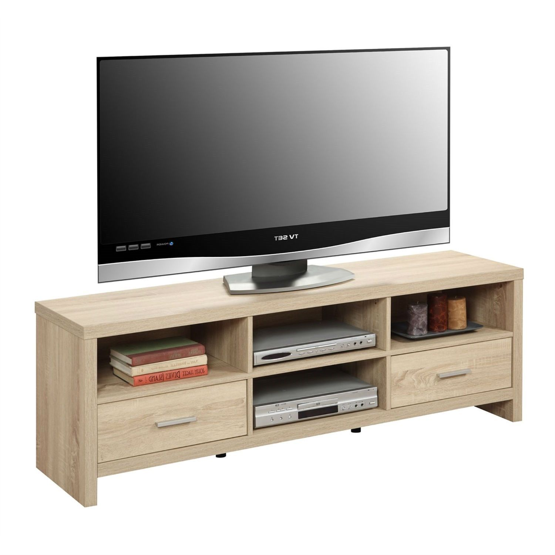 Light Woodgrain Modern 60inch TV Stand Entertainment