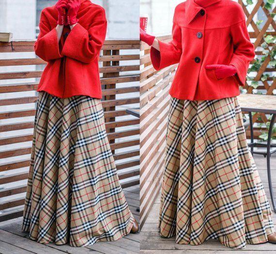 Beige Plaid Maxi Skirt Tartan Long Woman Skirt Maxi Skirt with pocketsHight Waist Skirt Wi Beige Plaid Maxi Skirt Tartan Long Woman Skirt Maxi Skirt with pocketsHight Wai...