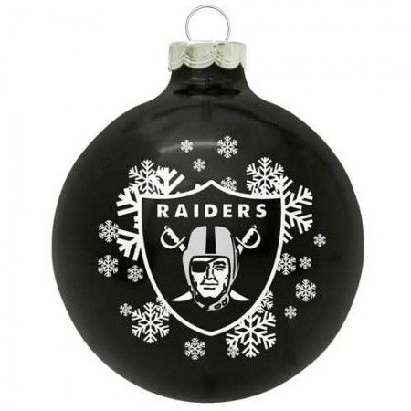 Oakland Raiders Small Painted Round Christmas Tree Ornament ...