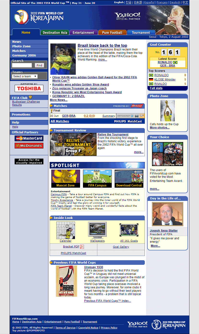 Fifa World Cup Website In 2002 World Cup Fifa World Cup Fifa
