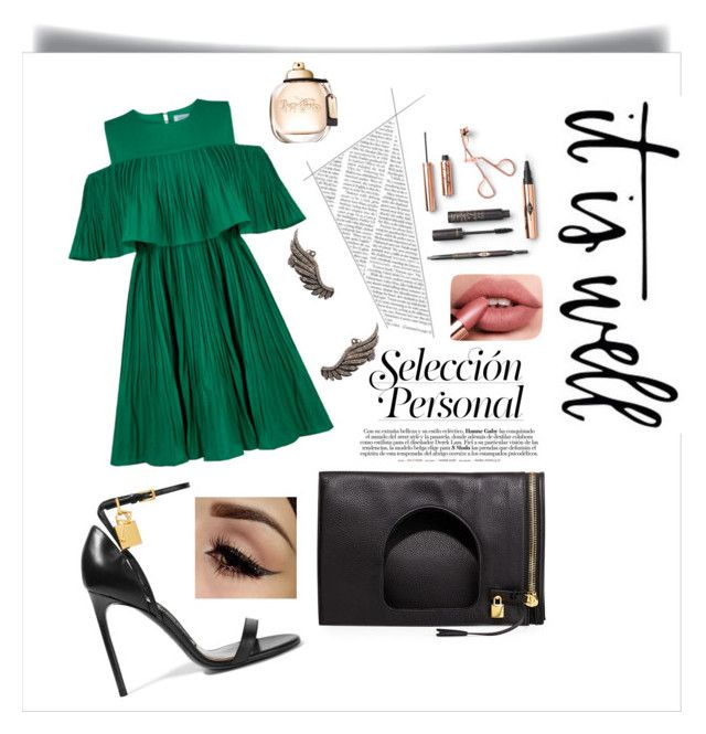 """""""Green Dress"""" by girlsbossbio on Polyvore featuring Tom Ford, Jovonna and Karma Jewels"""