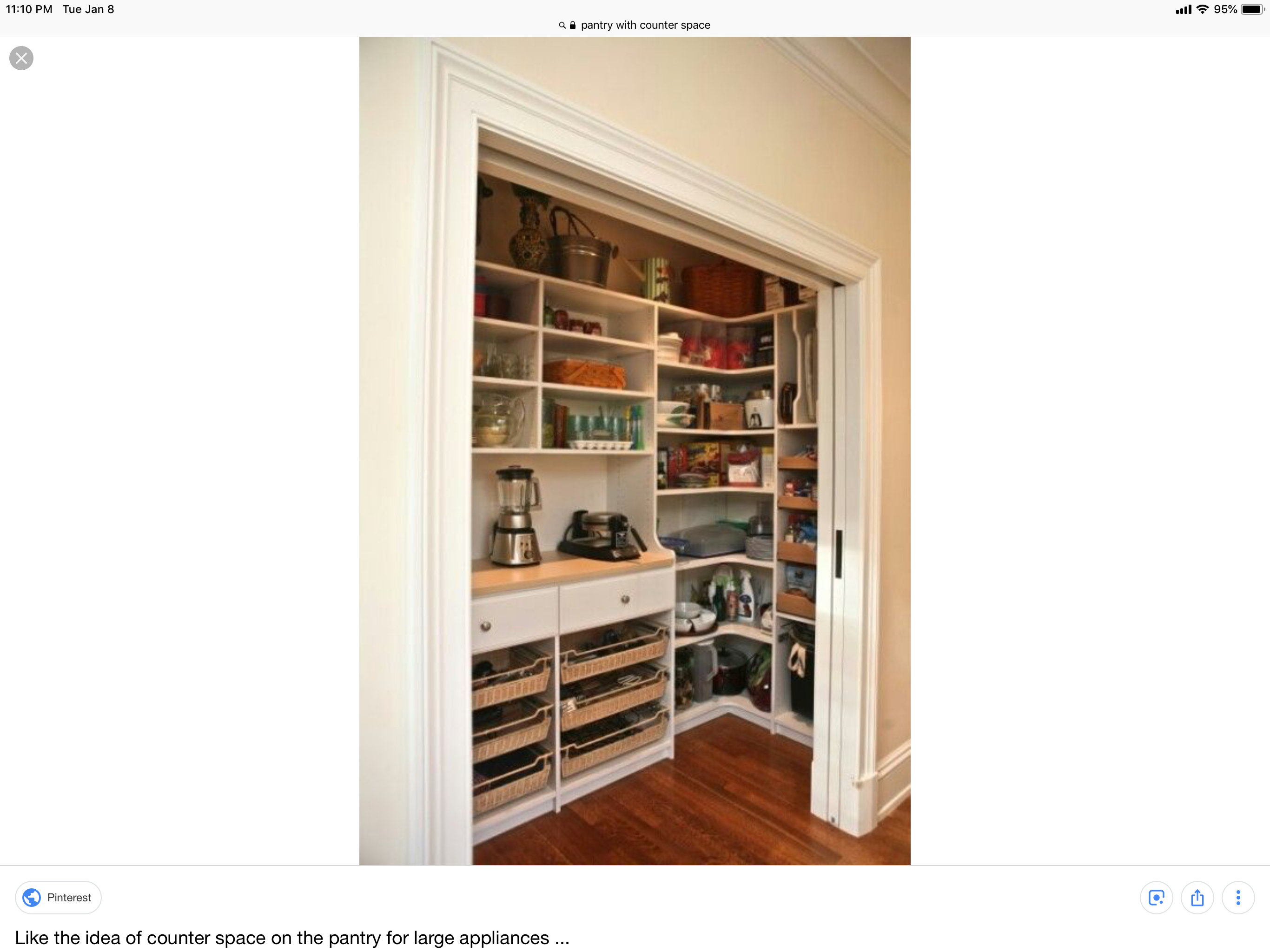Like The Counter With Plugs And A Place For Toaster And Blender Storage To The Ceiling Custom Pantry Pantry Hall Closet