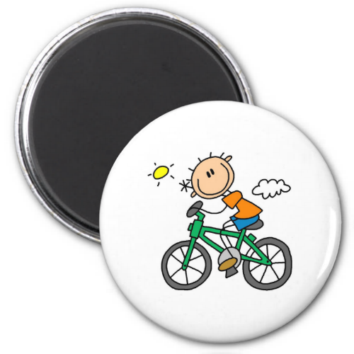 Stick Boy Riding Bicycle Refrigerator Magnets