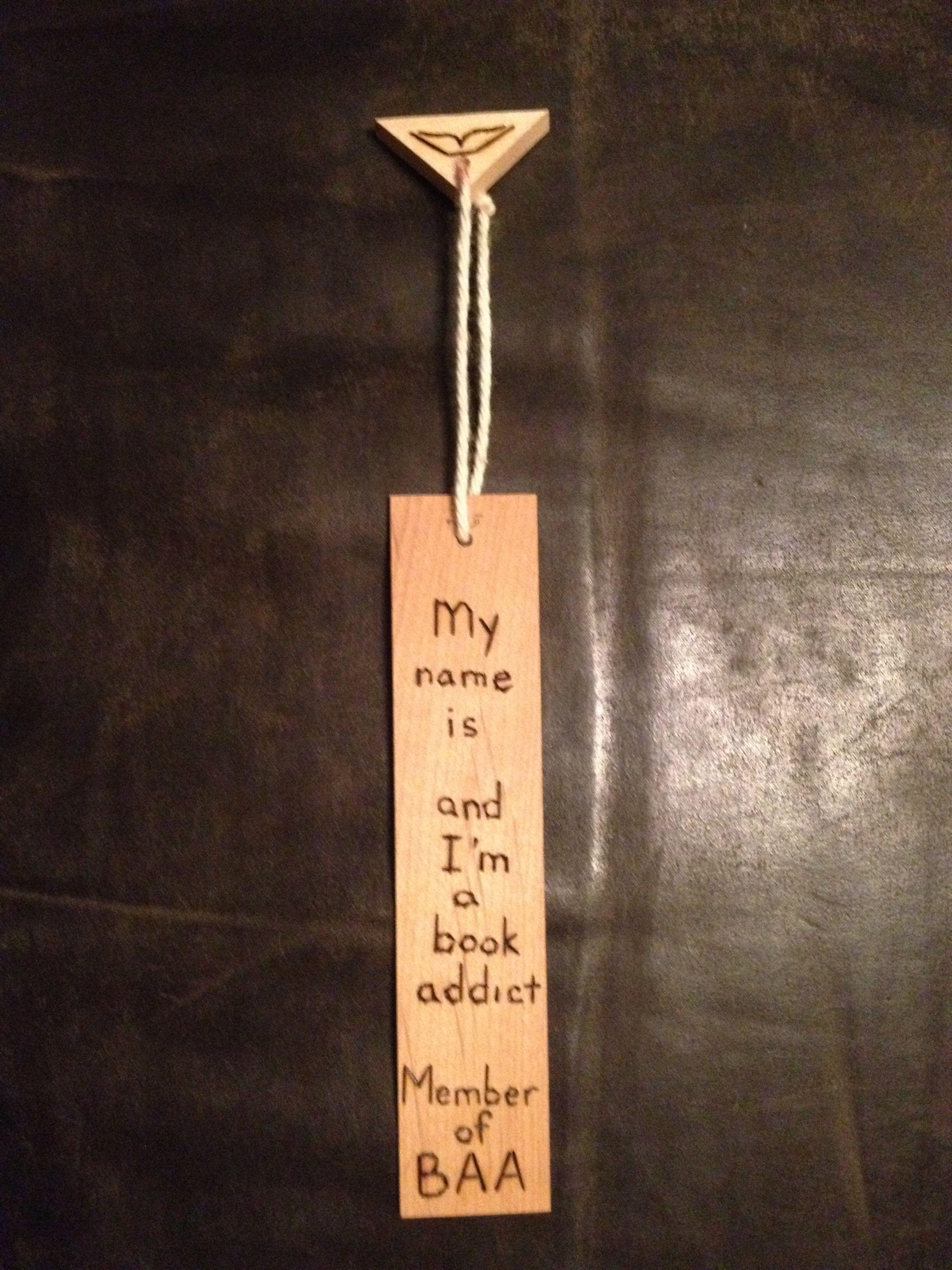 Book Addict wood burnt bookmark