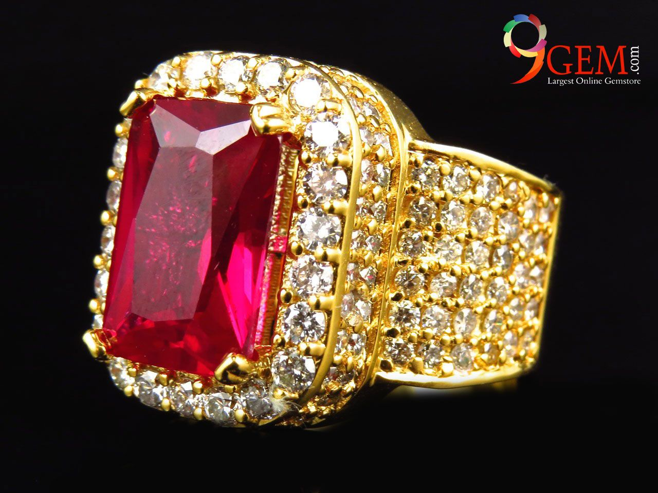 Men Style Ruby Ring with gold plated and embedded with diamonds