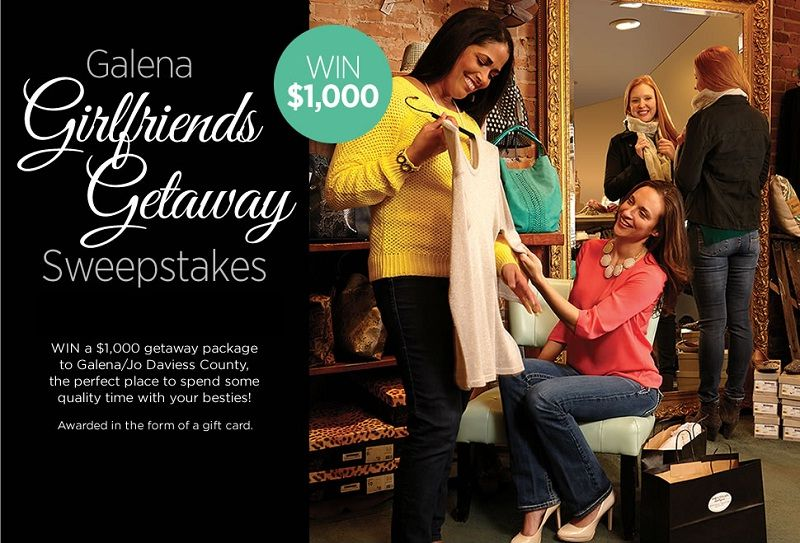 Enter MWL Galena Girlfriends Getaway Sweepstakes to win a $1,000 getaway package to Galena/Jo Daviess County!                               #Sweepstakes, #GirlfriendGetaway, MidwestLiving, #Giftcard