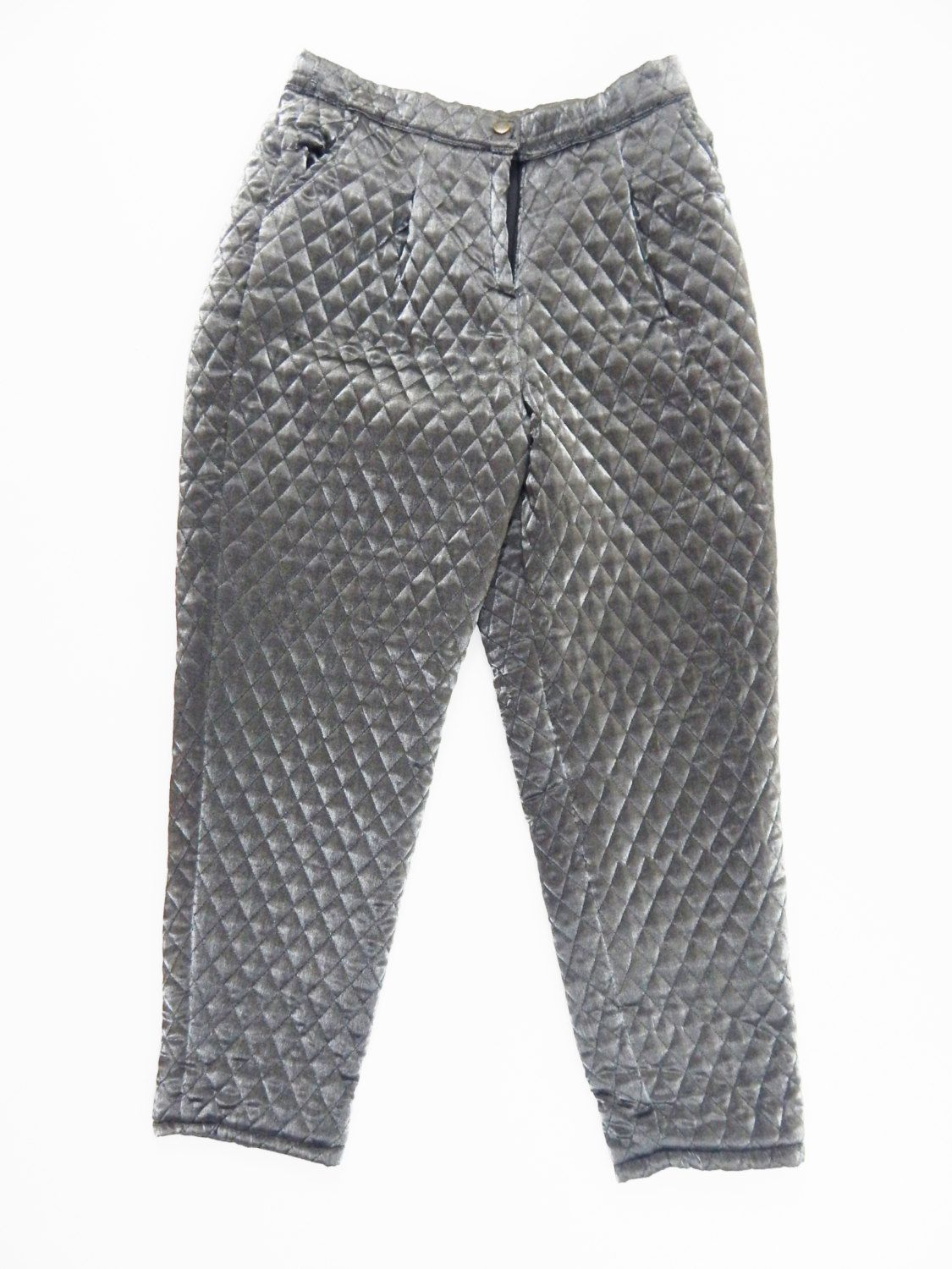 90s silver jogger daimond quilted pant women men pants cyber ... : mens quilted pants - Adamdwight.com
